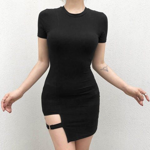 Gothic Short Sleeve Bodycon Harajuku Women's Dress with Metal Ring Mini Dress