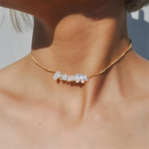 Opal Choker Necklace with Crystal & Beads Charm Jewelry
