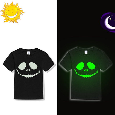Jack Skellington Luminous Evil Face Glow in the Dark Halloween T-Shirt for Kids
