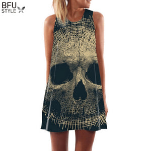 Vintage Skull Boho Style Women's Sleeveless Summer Dress