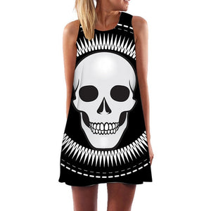 Skull Punk Boho Style Women's Sleeveless Summer Dress in Black