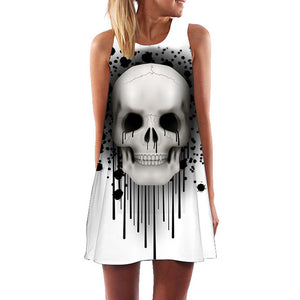 Gothic Skull Print Boho Style Women's Sleeveless Summer Dress in White
