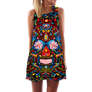 Colorful Skull Mandala Print Boho Style Women's Sleeveless Summer Dress