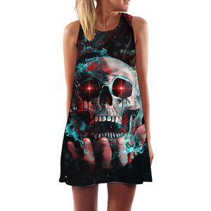 Galaxy Skull 3D Print Boho Style Women's Sleeveless Summer Dress in Black