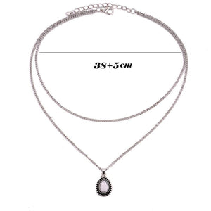 Layered Necklace Silver Choker Water Drop Pendant Necklace for Women