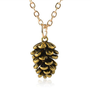 Pine Cone Pendant Necklace - Gold & Silver Chain Necklace Jewelry for Women