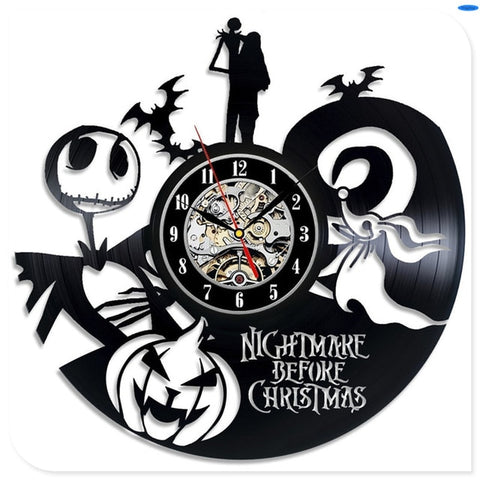 Nightmare Before Christmas Jack, Sally & Zero Vintage Black Vinyl Home Decoration Wall Clock