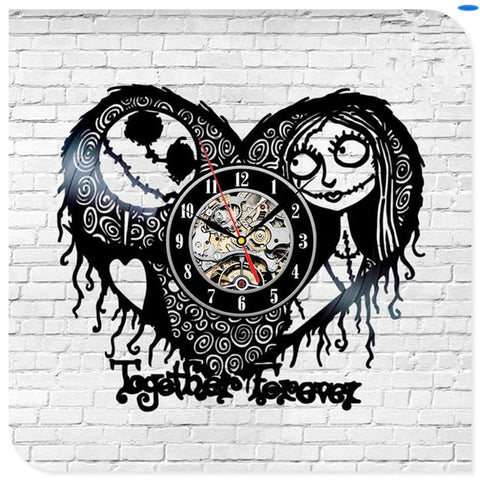 Jack Skellington & Sally Heart Shaped Vintage Black Vinyl Home Decoration Wall Clock