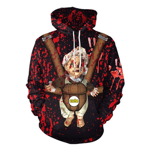 Bloody Baby Halloween Print Drawstring Sweatshirt Pullover with Pocket Hoodies