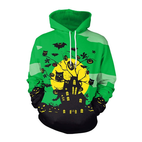 Horror House Drawstring Sweatshirt Pullover with Pocket Hoodies in Green