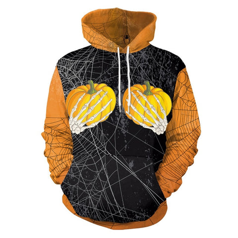 Spiderweb & Pumpkins Print Drawstring Sweatshirt Pullover with Pocket Hoodies