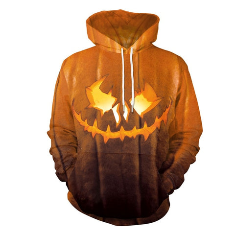 Jack O' Lantern 3D Print Drawstring Sweatshirt Pullover with Pocket Hoodies