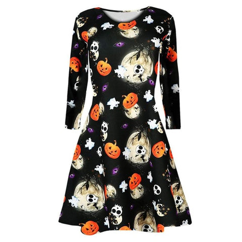 Halloween Jack O' Lantern Pumpkin Long Sleeve Women's Dress in Orange