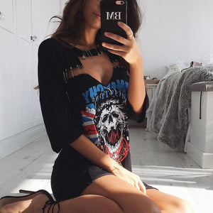 Punk Style Skull Shirt Choker Cut-out & Pins Summer Dress