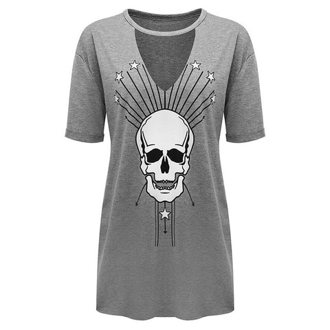Summer V-Neck Skull Head Women's Knee Length Shirt Dress in Gray
