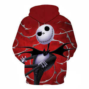 Jack Skellington Thorned Roses Unisex Graphic Pullover Hoodie in Red