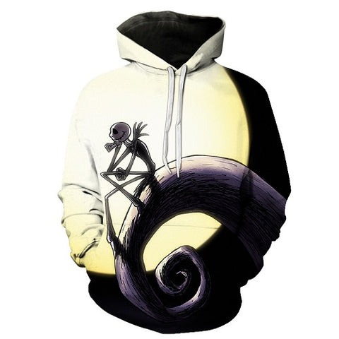 Jack Skellington is in Solitude Unisex Graphic Print Pullover Hoodie in Black & White