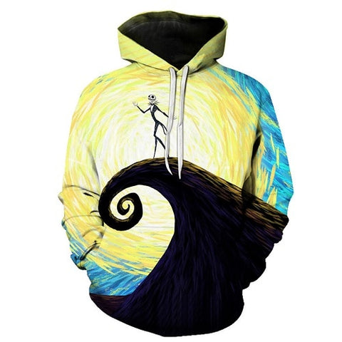 Jack Skellington on the Hillside Artwork Unisex Graphic Pullover Hoodie