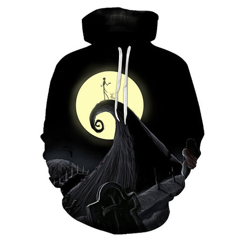 Jack Skellington Over the Moon Unisex Graphic Pullover Hoodie in Black