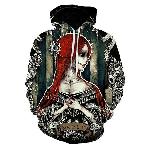 Jack Skellington Gothic Sally Unisex Graphic Pullover Hoodie