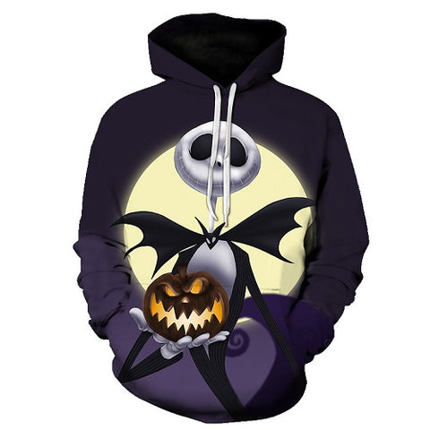 Jack Skellington & Jack O' Lantern Unisex Graphic Pullover Hoodie in Black
