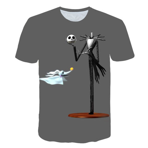 Nightmare Before Christmas Jack & Sally Graphic Print T-Shirt in Gray