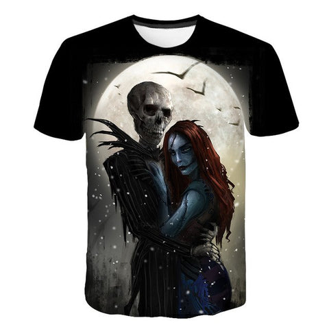 Nightmare Before Christmas Skeleton Jack & Sally Graphic Print T-Shirt