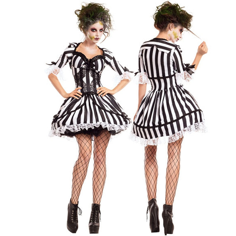 Gothic Striped Corset Dress Cosplay Costume