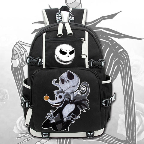 Jack Skellington Large Casual Canvas Travel School Backpack Bag