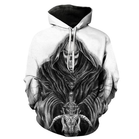 Punk Style Cloaked Skull Printed Unisex Pullover Sweatshirt Hoodie in White