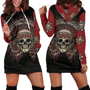 Bohemian Style Skull & Tribe Long Sleeve Women's Hoodie Dress
