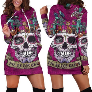Punk Style Purple Long Sleeve Women's Hoodie Dress