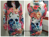 The Punisher Skull Long Sleeve Women's Hoodie Dress