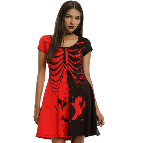 Slim Bodycon Skeleton Cocktail Women's Dress in Red & Black