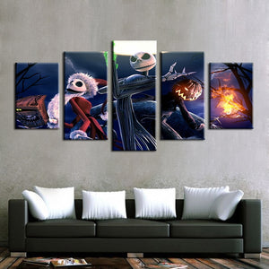 Jack Skellington the Pumpkin King as Santa Claus Painting Modular Canvas Wall Art Pictures 5-Pieces Home Decoration Poster Frame