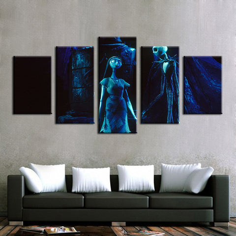 Jack Skellington Sally Painting Modular Canvas Wall Art Pictures 5