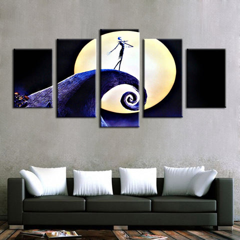 Jack Skellington Sings in the Moonlight Painting Modular Canvas Wall Art Pictures 5-Pieces Home Decoration Poster Frame