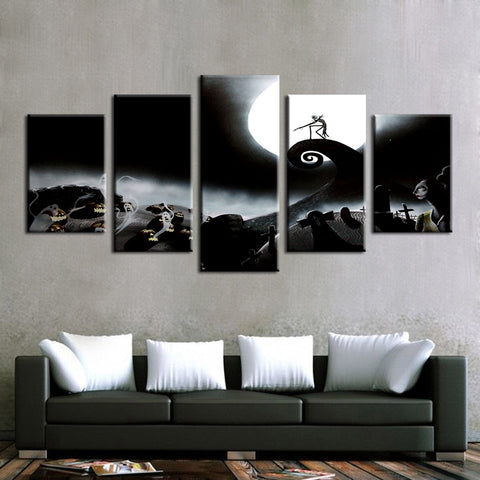 Jack Skellington is the Lonely Pumpkin King Painting Modular Canvas Wall Art Pictures 5-Pieces Home Decoration Poster Frame