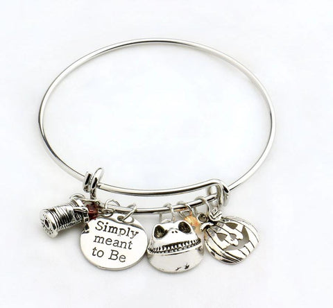 Nightmare Before Christmas Simply Meant To Be Silver Plated Bangle Bracelet
