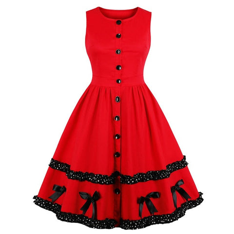 Vintage Swing Dress Gothic Style with Lace & Bowknot Casual Party Dress