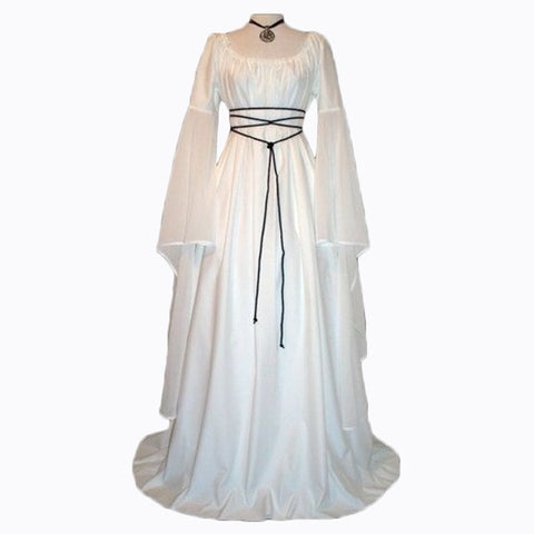 Gothic Medieval Dress Vintage Style Long Gown with Flare Cuff Costume Dress