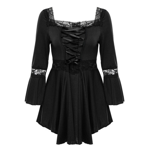 Gothic Victorian Style Half Sleeve Lace & Bodice Costume Dress
