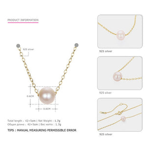 Freshwater Pearl Necklace 925 Sterling Pendant Necklace Jewelry for Women