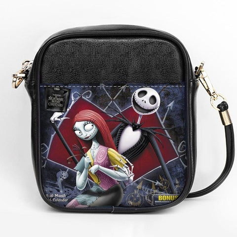 Nightmare Before Christmas Jack & Sally Leather Messenger Sling Bag