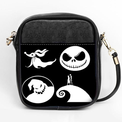 Nightmare Before Christmas Halloween Town Leather Messenger Sling Bag
