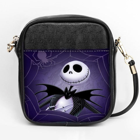 Nightmare Before Christmas Webbed Jack Leather Messenger Sling Bag - Purple