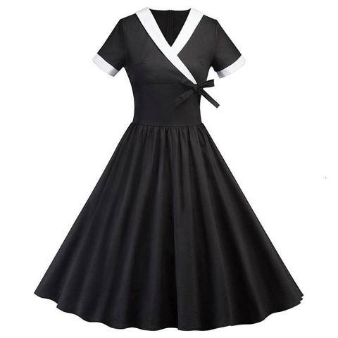 Gothic V-Neck Wrap Dress Pleated Vintage Casual Dress