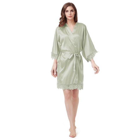 Luxury Satin Lace Robe in Sage