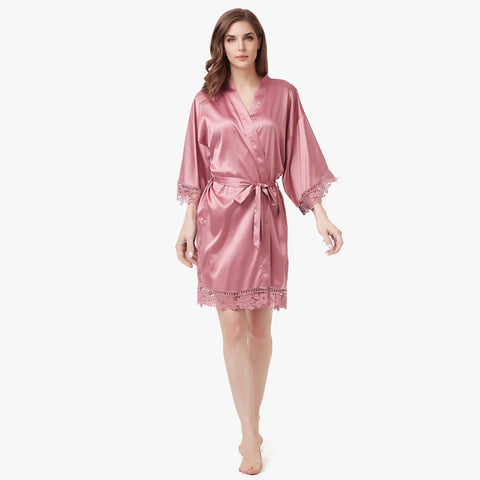 Luxury Satin Lace Robe in Dusty Rose