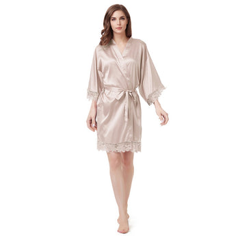 Luxury Satin Lace Robe in Champagne